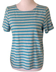 Saint James T Shirt turquoise w/bluish grey heathered stripes