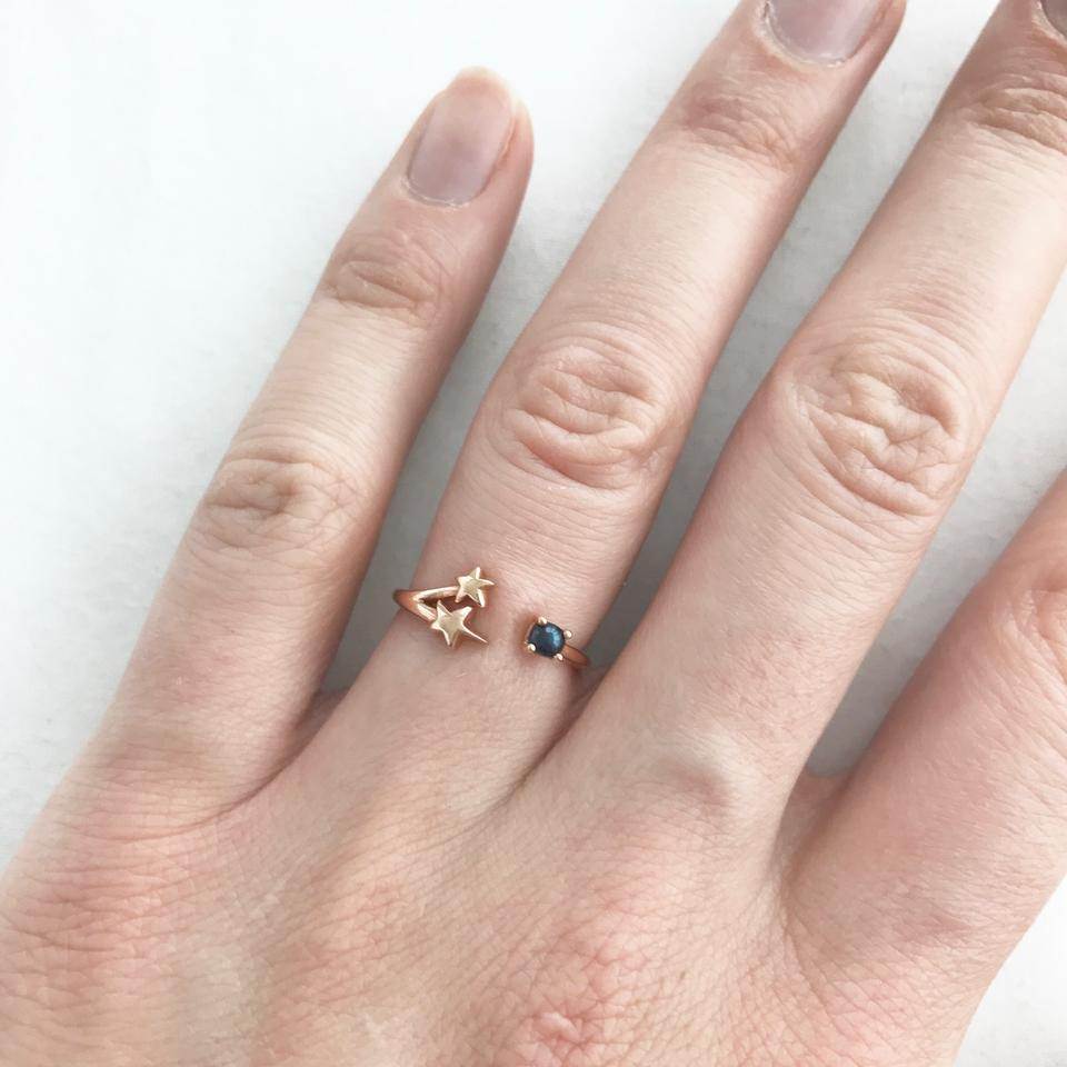 PAMELA LOVE Rose Gold Orion Black Pearl Star Ring - Tradesy