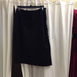 Philippe Adec Wool Pencil Rouched Asymmetric Skirt Black