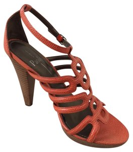 Linea Paolo Modern Vintage Leather Trendy High Heels Orange Milled Kid Sandals