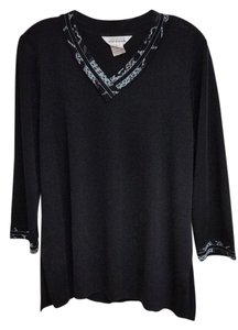 Misook Knit Ming Wang Abstract V-neck Sweater Tunic