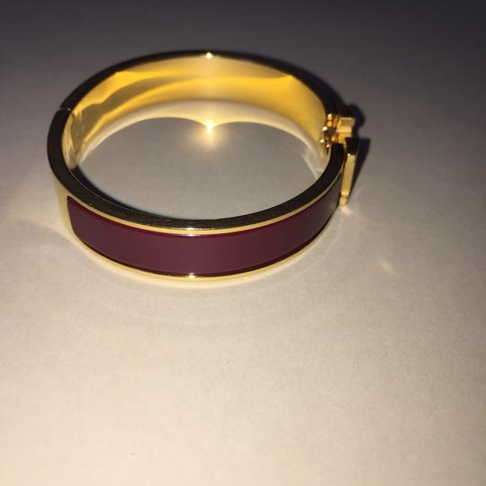 Hermès Hermes Clic H Clac GM Enamel Red Bracelet Gold Plated Bangle FULL SET