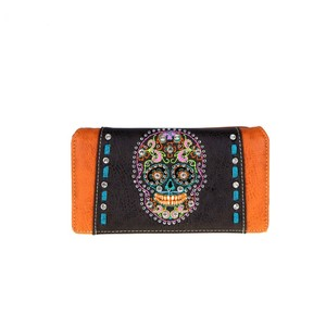Montana West Skulls Leather Wallet