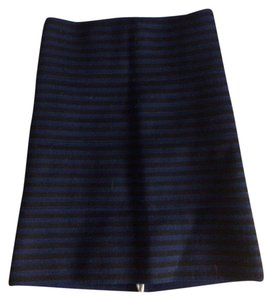 Pleasure Doing Business Stipe Mini Skirt Black and Blue Stripe