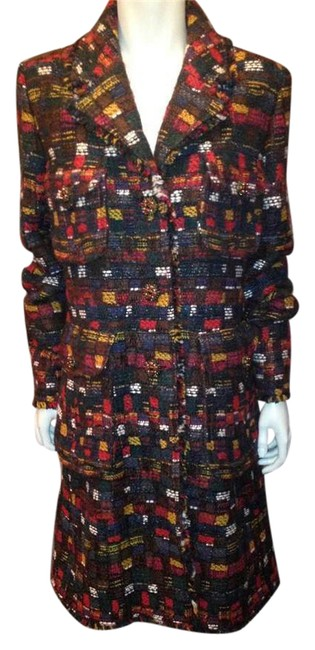 Item - Multicolor 2013 13a Runway Plaid Tweed Jewel Buttons Jacket 44 Coat Size 6 (S)
