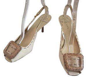 Prada Leather Open Toe Gold Hardware Buckle Logo beige Pumps