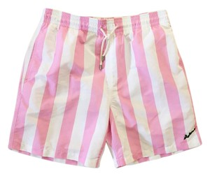 Solid & Striped Solid & Striped Fishers Island Embroidered Pink Stripe Swim Trunks