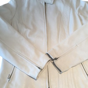 Banana Republic Leather Leather Spring Moto Zippers White Leather Jacket