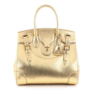 Ralph Lauren Collection Leather Satchel in Gold