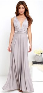 Lulu*s Light Grey Polyester & Spandex All The Sway Convertible Maxi Destination Bridesmaid/Mob Dress Size 4 (S)