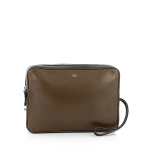 Céline Pouch Leather Olive Green Clutch