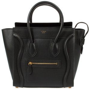 Céline Nano Smooth Calf Luggage Phantom Satchel in black