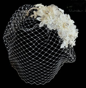 Ivory Birdcage Veil With Beaded Lace Hair Clip