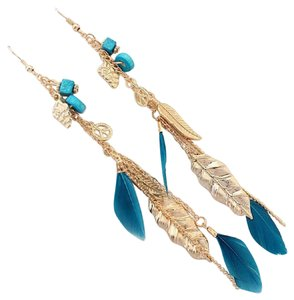 Other Long Turquoise Feather Peace Earrings Free Shipping