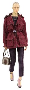 Chanel Tweed Coat Drawstring Burgundy Jacket