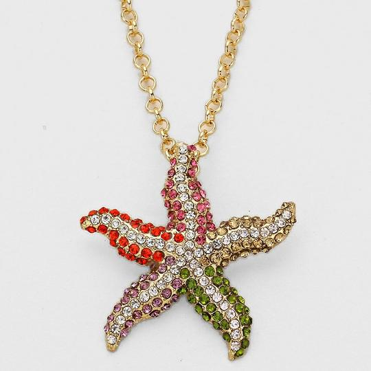 Other Chic Multicolor Crystal Pave Starfish Gold Chain Necklace