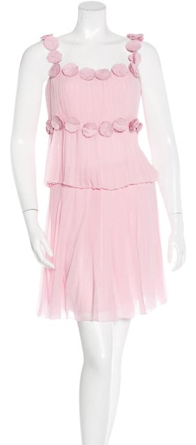 Chanel Pink Silk Top Pleated Skirt Set Suit Camellia