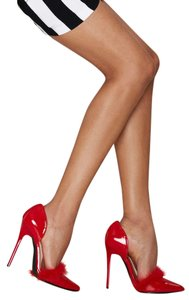 Nasty Gal Faux Fur Faux Leather Vegan Red Pumps