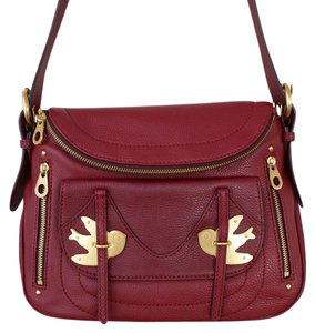 Marc by Marc Jacobs Birds Red Leather Crossbody Metal Shoulder Bag