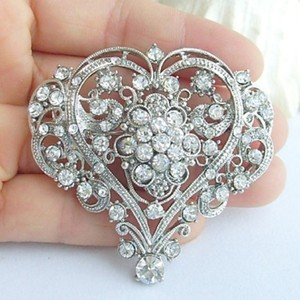 Bnwot ~ Heart Cz Wedding Brooch Pin