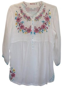 Johnny Was Embroidered 3/4 Sleeve Tunic