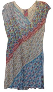 Johnny Was Print Capped Sleeve Scoop Neck Tunic