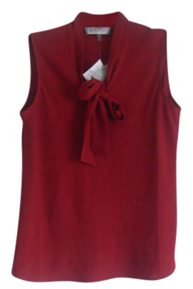 0355356fa273c Kasper Red Fire Tie-front Sleeveless Blouse Size 4 (S) - Tradesy
