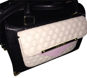 Betsey Johnson Satchel in Black, Cream, and pink