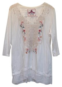Johnny Was Cotton V-neck Embroidered 3/4 Sleeve Tunic