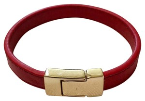 Other red leather bracelet w/ golden magnetic snap