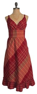 Apt. 9 short dress RED Fit And Flare Midi Plaid Tea Length on Tradesy