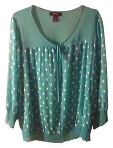 Style & Co Top Teal w/ white dots