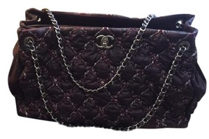 Chanel Quilted Nylon Bubble Tweed Stitch Plum Tote in Plum/purple