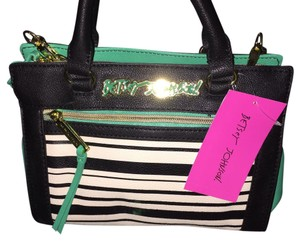 Betsey Johnson Satchel in Black & Cream