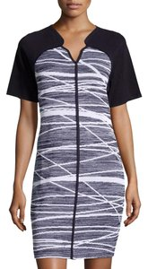Misook short dress Blue/White Plus-size Bodycon Knit Abstract Wrinkle Resistant on Tradesy