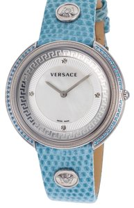 Versace Versace Style LWomen's Thea Diamond Light Blue Genuine Lizard White MOP Dial SS