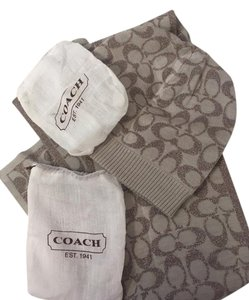 Coach SIGNATURE METALLIC KNIT HAT, SCARF, GLOVES