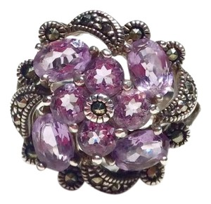 Victoria Townsend VICTORIA TOWNSEND AMETHYST & MARCASITE STERLING SILVER COCKTAIL RING