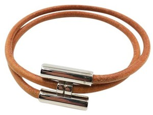 Hermès Authentic Hermes Gold Plated Palladium H Leather Bracelet