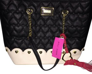 Betsey Johnson Tote in Black & Cream