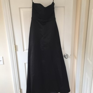 Priscilla of Boston Black Satin Blend Sweetheart Formal Bridesmaid/Mob Dress Size 4 (S)