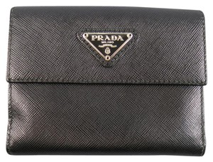 Prada Black Saffiano Textured Leather Coin Pouch Wallet