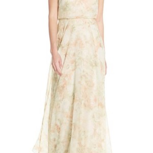 Jenny Yoo Blush Multi Inesse Print Chiffon V-neck Spaghetti Strap Gown Dress