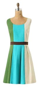 Anthropologie short dress green, teal, cream, and brown on Tradesy