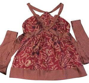 BCBGMAXAZRIA Top maroon and gold with some navy accents