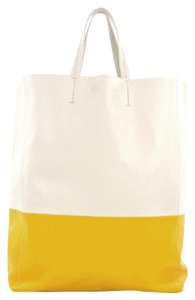 Céline Leather Tote in Yellow and White