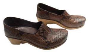 Dansko Leather Brown Snake print Mules