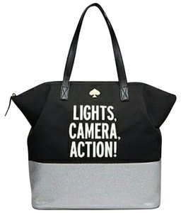 Kate Spade Call To Action Silver Lights Camera Action Tote in blue silver