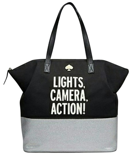 Kate Spade Call To Action Lights Camera Action Tote in blue silver