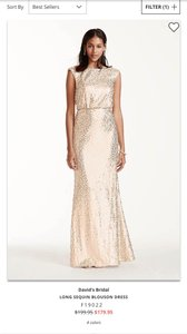 David's Bridal Gold Sequin 0298 F19022 Formal Bridesmaid/Mob Dress Size 12 (L)